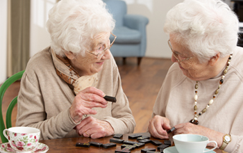 image: 2 ladies playing dominoes at home