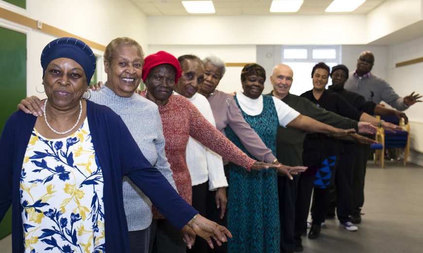 image: Optivo residents at an exercise class