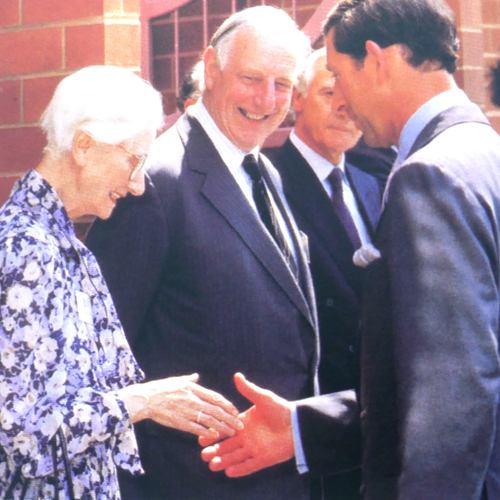 image: Joan Bartlett meeting Prince Charles in 1992